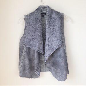 Ella Moss Gray Faux Shearling Vest